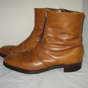 Vintage 60's Men's Tan Leather Ankle Boots, 10 B/D